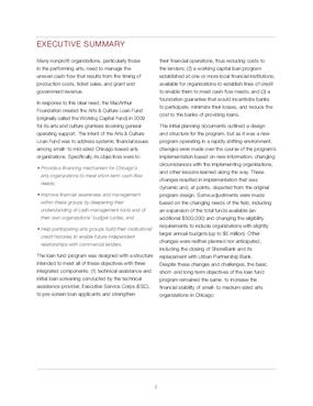 Evaluating the Arts & Culture Loan Fund Program