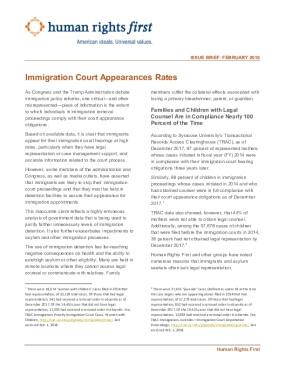 Immigration Court Appearances Rates